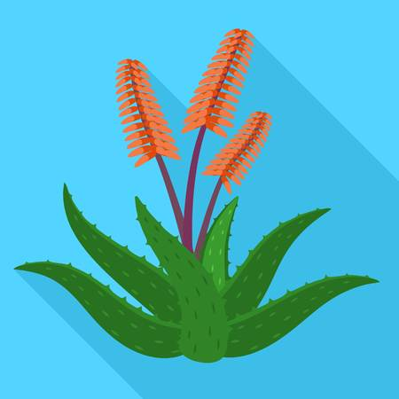 Aloe vera flower icon. Flat illustration of aloe vera flower icon for web design Banco de Imagens