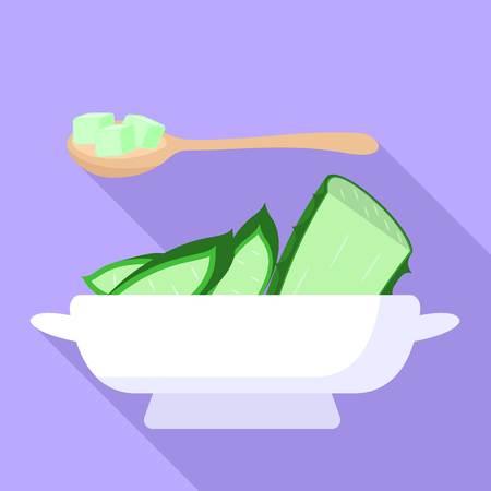 Aloe salad icon. Flat illustration of aloe salad icon for web design Stock Photo