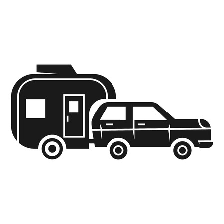Vacation car trailer icon. Simple illustration of vacation car trailer icon for web design isolated on white background