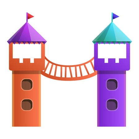 Kid playground towers icon. Cartoon of kid playground towers icon for web design isolated on white background