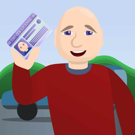 Happy man pass driving exam concept background. Cartoon illustration of happy man pass driving exam concept background for web design