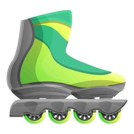 Green inline skates icon. Cartoon of green inline skates icon for web design isolated on white background