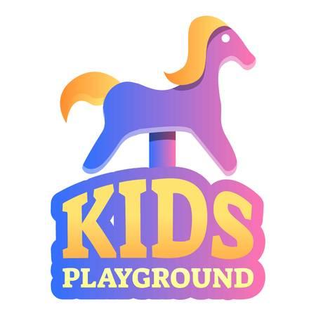 Kids playground rocking horse logo. Cartoon of kids playground rocking horse logo for web design isolated on white background Stock Photo - 123157874