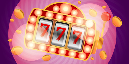 Vegas slot machine concept banner. Cartoon illustration of vegas slot machine concept banner for web design Standard-Bild - 123157888