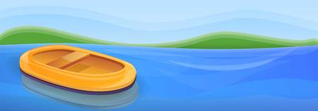 Inflatable boat on river concept banner. Cartoon illustration of inflatable boat on river concept banner for web design Stock Photo