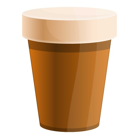 Hot coffee cup icon. Cartoon of hot coffee cup icon for web design isolated on white background