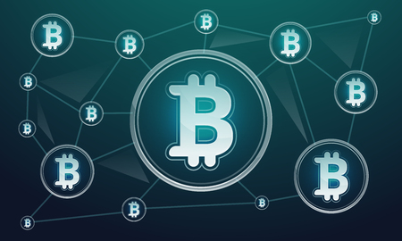 Blockchain technology concept banner. Cartoon illustration of blockchain technology concept banner for web design 写真素材