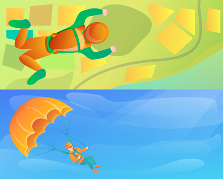 Modern skydivers banner set. Cartoon illustration of modern skydivers banner set for web design Stock Photo