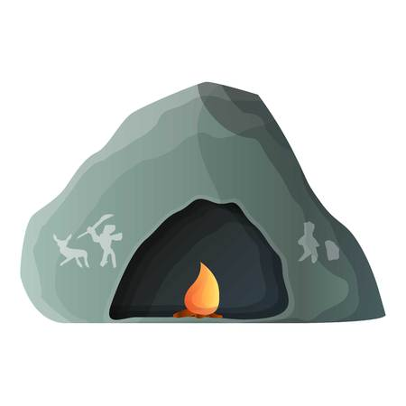 Prehistoric cave icon. Cartoon of prehistoric cave icon for web design isolated on white background Stock Photo
