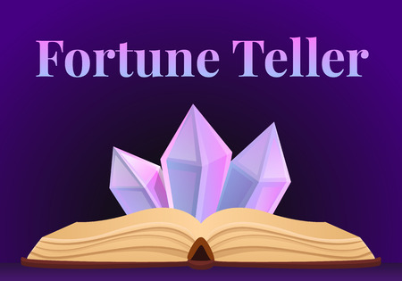 Fortune teller concept banner. Cartoon illustration of fortune teller concept banner for web design Stock Photo