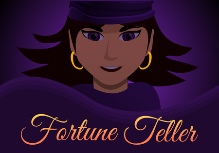 Woman fortune teller concept banner. Cartoon illustration of woman fortune teller concept banner for web design Stock Photo