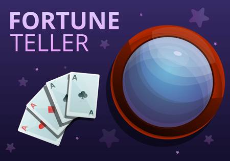 Fortune teller playing cards concept banner. Cartoon illustration of fortune teller playing cards concept banner for web design