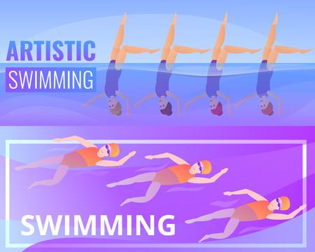 Artistic swimming banner set. Cartoon illustration of artistic swimming banner set for web design
