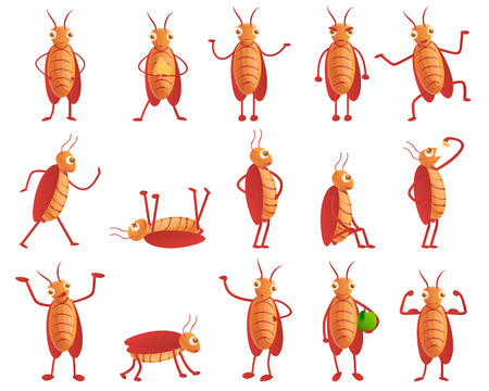 Cockroach icons set. Cartoon set of cockroach vector icons for web design Vector Illustration