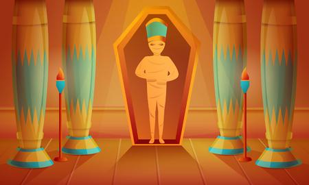 Mummy concept background. Cartoon illustration of mummy vector concept background for web design Illustration