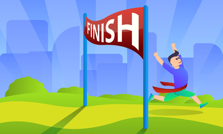 Finish marathon concept background. Cartoon illustration of finish marathon vector concept background for web design
