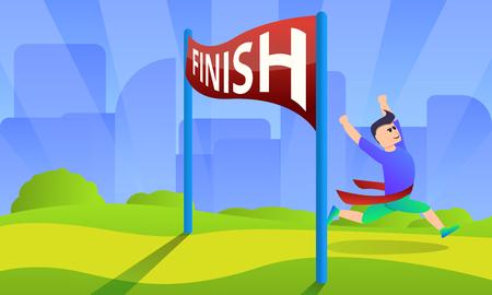 Marathon-Konzepthintergrund beenden. Karikaturillustration des Endmarathonvektorkonzepthintergrundes für Webdesign