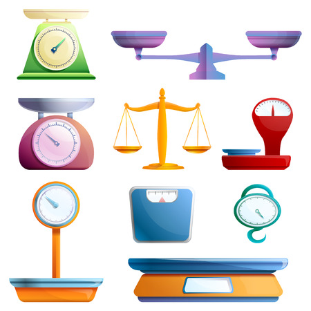 Weigh scales icons set. Cartoon set of weigh scales vector icons for web design