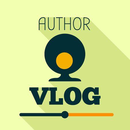 Author vlog logo. Flat illustration of author vlog vector logo for web design Illustration
