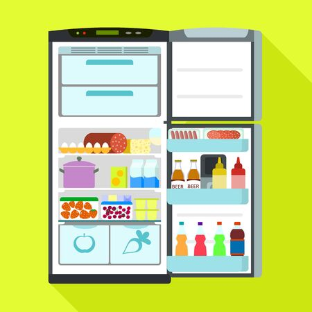 Open fridge icon. Flat illustration of open fridge vector icon for web design Illustration