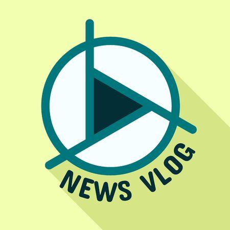 Live news vlog logo. Flat illustration of live news vlog vector logo for web design Ilustração