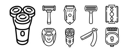 Shaver icons set. Outline set of shaver vector icons for web design isolated on white background Illustration