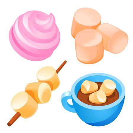 Marshmallow icons set. Cartoon set of marshmallow vector icons for web design Ilustracje wektorowe