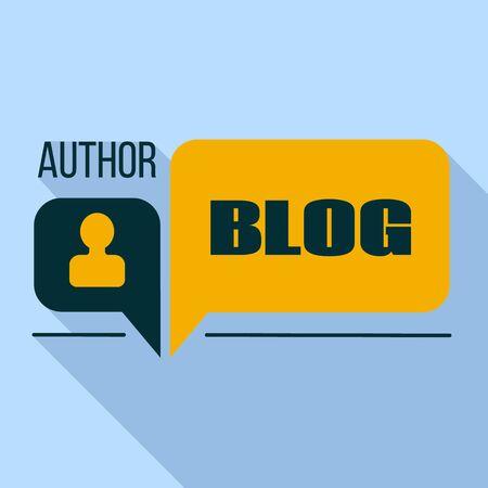 Author blog logo. Flat illustration of author blog vector logo for web design