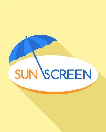 Sunscreen umbrella logo. Flat illustration of sunscreen umbrella vector logo for web design