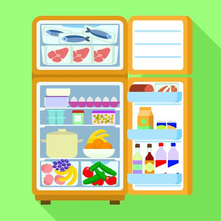 Open full fridge icon. Flat illustration of open full fridge vector icon for web design