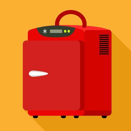 Portable electronic fridge icon. Flat illustration of portable electronic fridge vector icon for web design