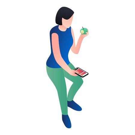 Chica con smartphone comer icono de manzana. Isométrica de niña con smartphone comer manzana icono vectoriales para diseño web aislado sobre fondo blanco.