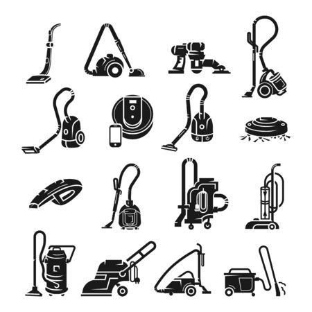 Ensemble d'icônes d'aspirateur. Ensemble simple d'icônes vectorielles d'aspirateur pour la conception web sur fond blanc