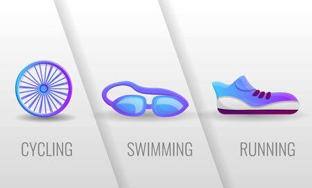 Triathlon, cycling, swimming, running concept banner. Cartoon illustration of triathlon, cycling, swimming, running vector concept banner for web design