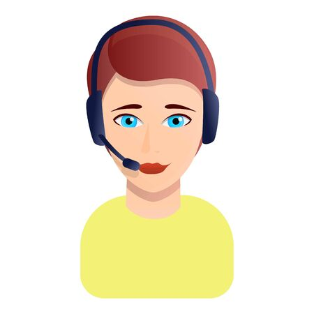 Woman call center manager icon. Cartoon of woman call center manager vector icon for web design isolated on white background