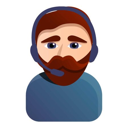 Hipster call center worker icon. Cartoon of hipster call center worker vector icon for web design isolated on white background
