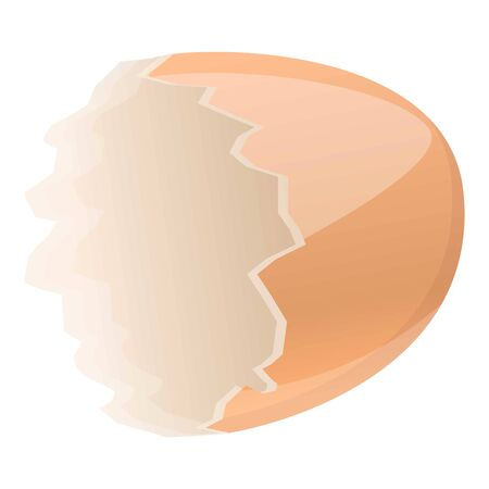 Half empty eggshell icon. Cartoon of half empty eggshell vector icon for web design isolated on white background Illustration