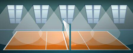 Transparent koncepcja areny do siatkówki. Ilustracja kreskówka baner koncepcji wektora areny siatkówki do projektowania stron internetowych
