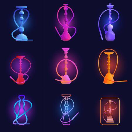 Ensemble d'icônes de narguilé. Ensemble de dessins animés d'icônes vectorielles de narguilé pour la conception de sites Web