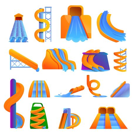 Aquapark icons set. Cartoon set of aquapark vector icons for web design