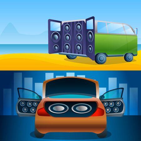 Car audio banner set. Cartoon illustration of car audio vector banner set for web design
