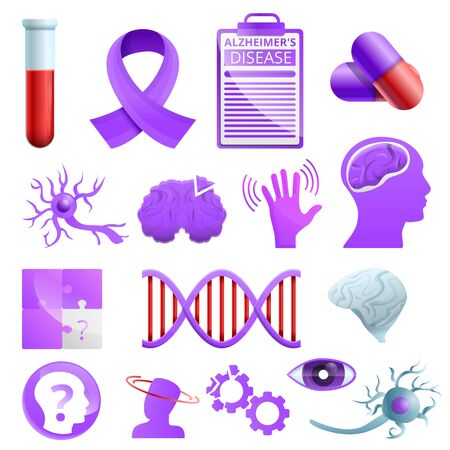 Alzheimer disease icons set. Cartoon set of alzheimer disease vector icons for web design Çizim