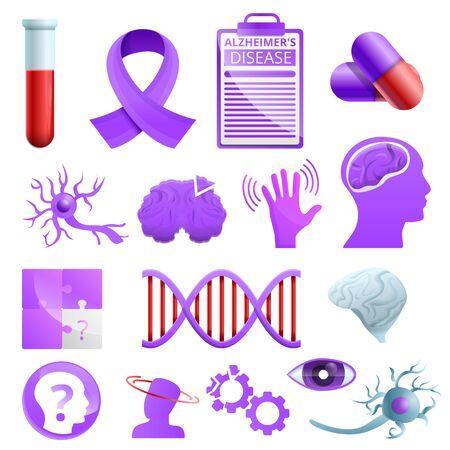 Zestaw ikon choroby Alzheimera. Kreskówka zestaw ikon wektorowych choroby Alzheimera do projektowania stron internetowych