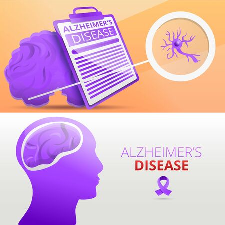 Alzheimer mind dementia banner set. Cartoon illustration of alzheimer mind dementia vector banner set for web design