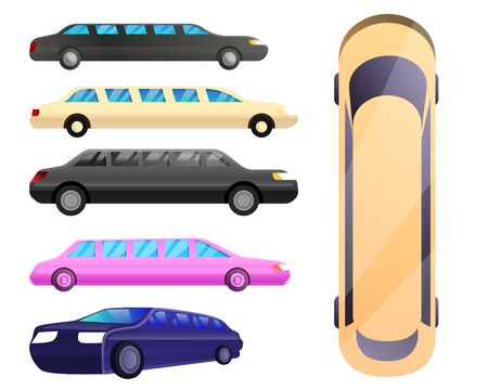 Limousine icons set. Cartoon set of limousine vector icons for web design