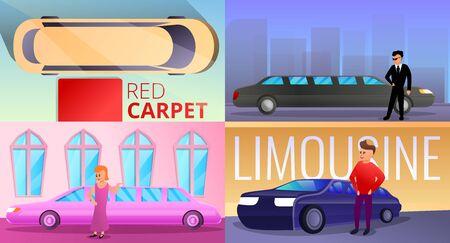 Limousine banner set. Cartoon illustration of limousine vector banner set for web design 向量圖像