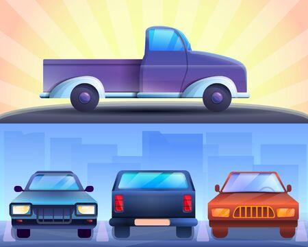 Pickup-Banner-Set. Karikaturillustration des Abholvektorfahnensatzes für Webdesign