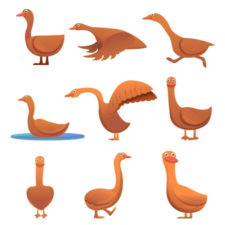 Goose icons set. Cartoon set of goose vector icons for web design Vettoriali