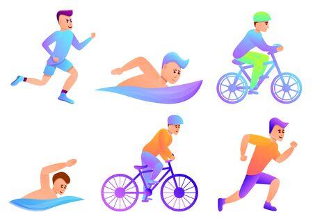 Triathlon icons set. Cartoon set of triathlon vector icons for web design