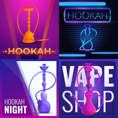 Hookah banner set. Cartoon illustration of hookah vector banner set for web design Illustration